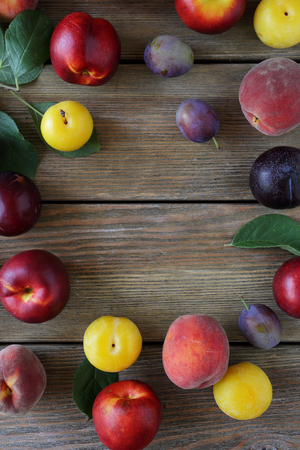 alycha: fresh plums on table Stock Photo