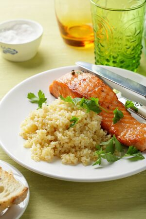 side dish: roasted salmon with side dish Stock Photo