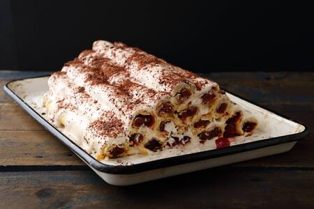 rustic: rustic cherry cake with whipped cream, food