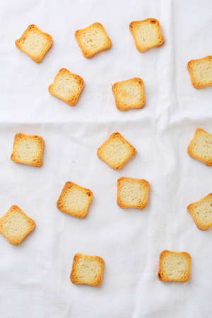 croutons: food background with croutons top view