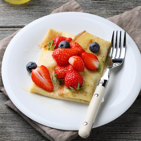 pancake week: summer pancake with fresh berries, food closeup Stock Photo