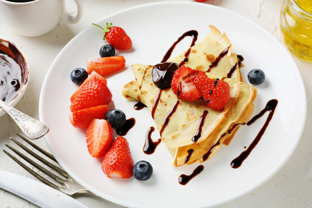 pancake week: french crepe with berries, food close-up Stock Photo