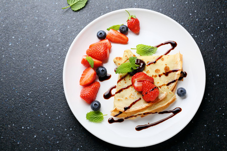 pancake week: pancake with chocolate, food top view