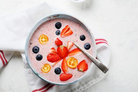 healthy summer breakfast smothie, food top view