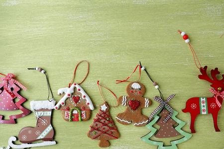 christmas decor: set christmas decorations on board, holiday decor