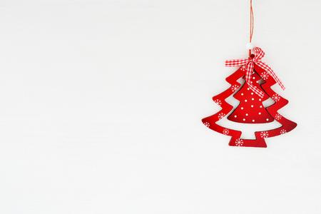 christmas decor: red wooden christmas tree,  decor