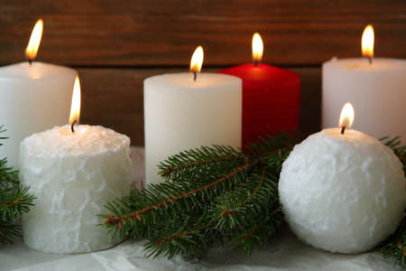 advent candles: burning advent candles, christmas holiday Stock Photo