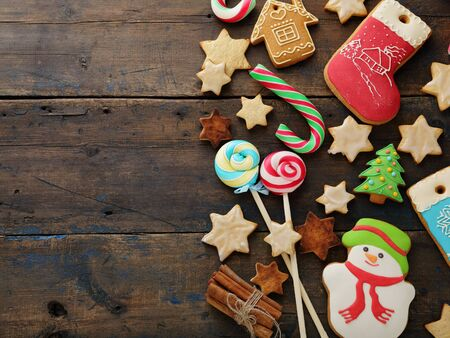 christmas candy and cookies on rustic background, food top view Stock Photo