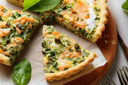 rustic food: rustic salmon quiche with spinach, food Stock Photo