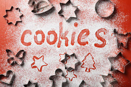 baking christmas cookies: Baking christmas cookies background, traditional dessert