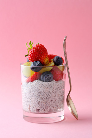 summer pudding: chia seed pudding with summer berries, healthy food