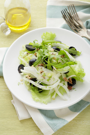 Winter salad with grapes and fennel, food close-up