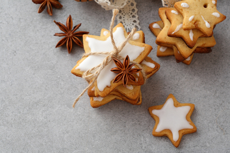 icing: Cookies with icing for christmas, food background