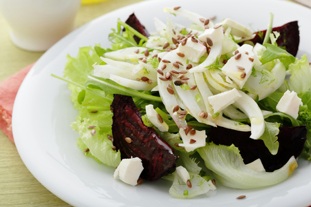 Winter fennel salad with roasted beets, food closeup