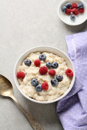kasha: Diet cereal breakfast with berry, food