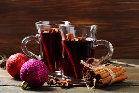 Two glaas with hot wine on rustic table, beverage Stock Photo