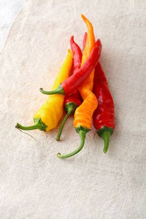 capsaicin: Color paprika on fabric, spice Stock Photo