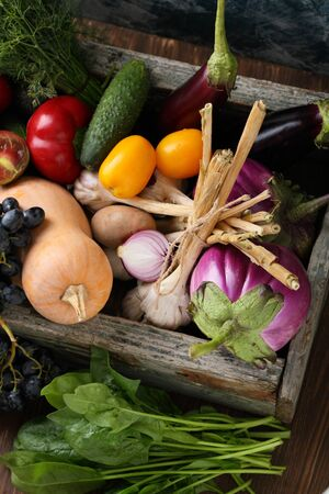 Mix of vegetables top view, food Stock Photo