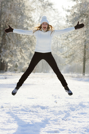 Jumping up woman happy weekend