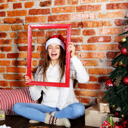 Laughing girl on Christmas Stock Photo