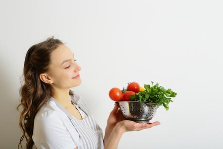 shef: Girl and fresh vegetables