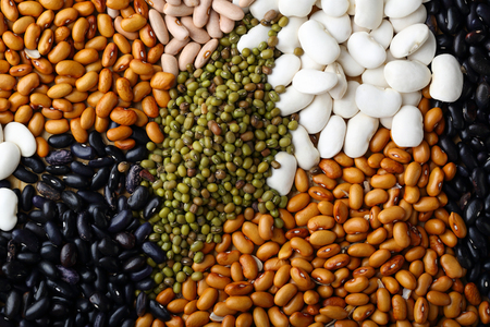 mung: White, black and other beans closeup, food