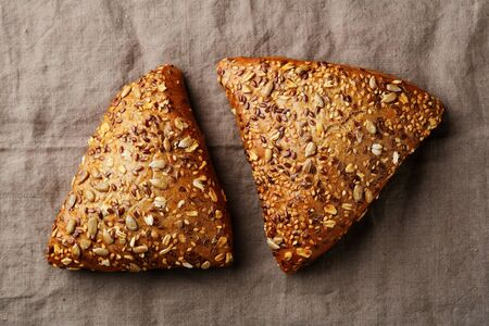 Two rye breads with seeds, healthy food