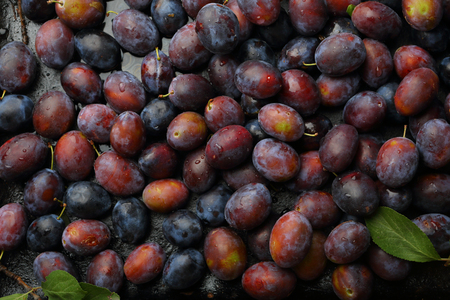 Dark food background with plums, local food