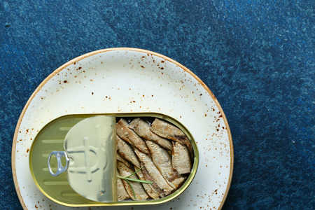 tin: Canned smoked sardines, food above