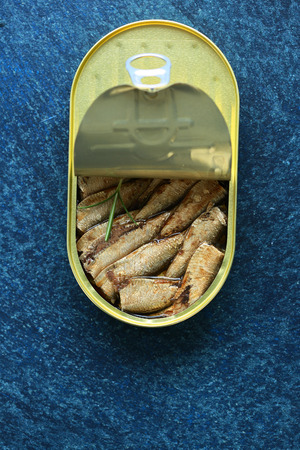 tin: Canned smoked sprats, food top view
