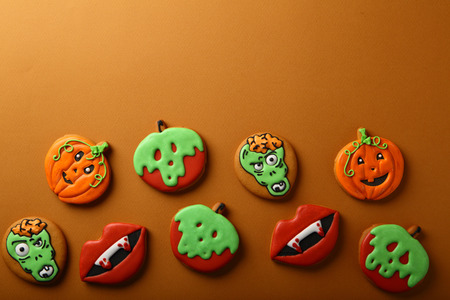 Halloween background with gingerbread cookies