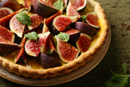 French tart with figs and custard, food closeup