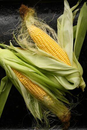Fresh corn cob above, food top view