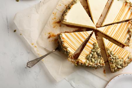 Sweet cheese cake with pumpkin seeds Stok Fotoğraf - 100052192