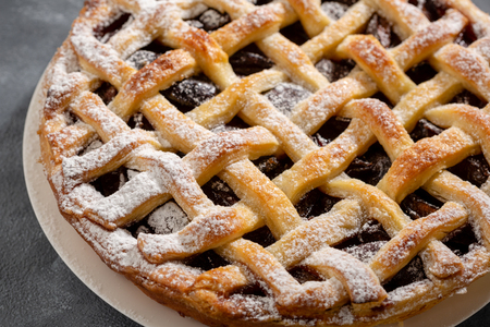 Delicious pie with fruits