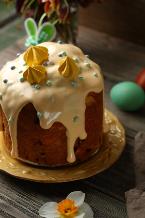 Easter cake on rustic table