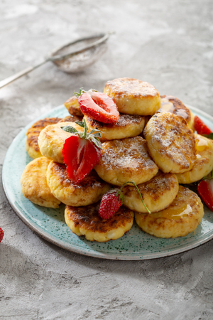 Cheese pancakes on plate
