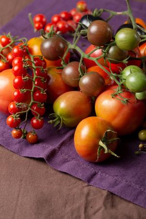 Ripe tomatoes mix close-up
