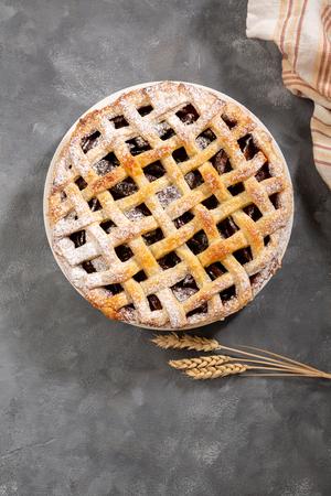 Homemade fruits pie above