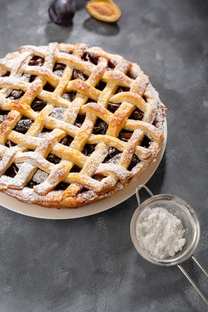 Delicious fruits pie, food close-up