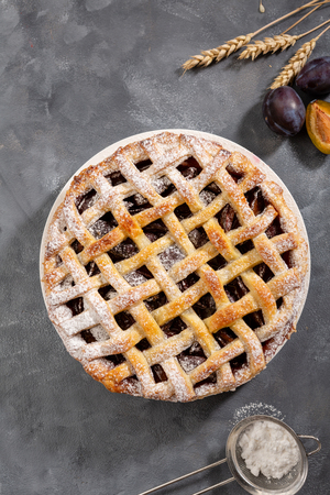 Fresh summer pie with plums, food above Stock Photo