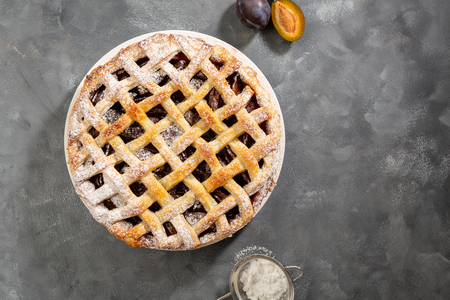 Fresh summer pie with plums