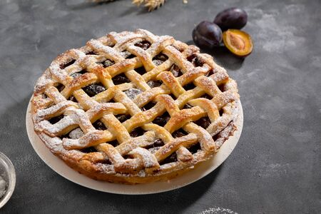 Summer fruits pie with plums
