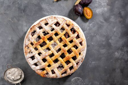 Summer fruits pie top view Stock Photo