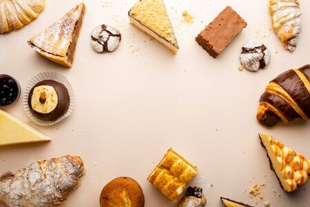 Food background with collection cakes