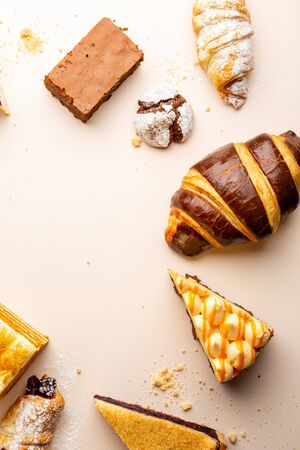 Food background with collection cakes top view