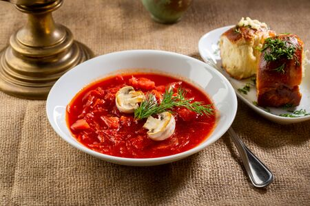 Portion of red cabbage russian soup, borsch