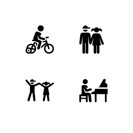 Childhood, kids play and study, children. Set outline icon  vector . Professional pixel perfect black