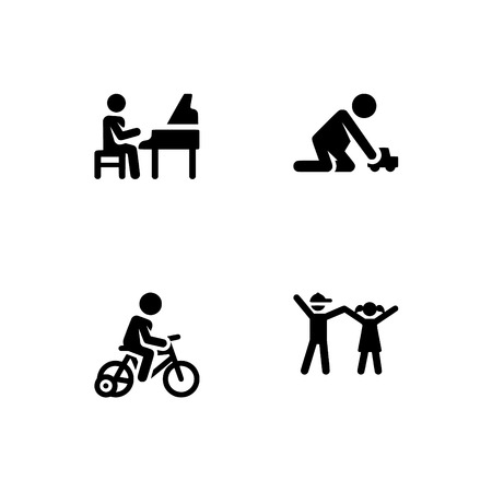 Childhood, kids play and study, children. Set outline icon  vector format. Professional pixel perfect black