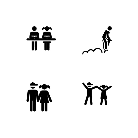 Childhood, kids play and study, children. Set outline icon EPS 10 vector format. Professional pixel perfect black & white icons optimized for both large and small resolutions. Transparent background. 写真素材 - 112127366